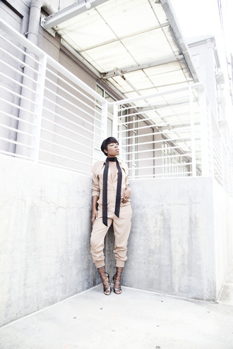 locks and trinkets blogger jumpsuit scarf shoes