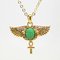 Egyptian amulet green scarab wings necklace fashion jewelry alloy gold tone