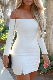 dress,zaful,white dress,long sleeve white dress,white,long sleeves,sexy,Sexy Off-The-Shoulder Long Sleeve Zippered Bodycon Women's Dress,fashion,trendy,summer,off the shoulder,rosegal-dec,Jessica Burciaga,off the shoulder dress,bodycon,bodycon dress,mini,mini dress,party dress,summer dress,summer outfits,cute dress,girly dress,girly,cute,date outfit,birthday,birthday dress,romantic dress,romantic summer dress,clubwear,club dress,sexy party dresses,sexy dress,party outfits