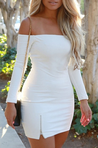 dress white white dress off the shoulder off the shoulder dress bodycon bodycon dress mini mini dress party dress summer dress summer outfits cute dress girly dress girly cute date outfit birthday birthday dress romantic dress romantic summer dress clubwear club dress sexy party dresses sexy dress party outfits