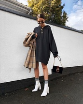 dress,sweatshirt dress,grey dress,hoodie,oversized,boots,bag,white boots,sweatshirt,ankle boots