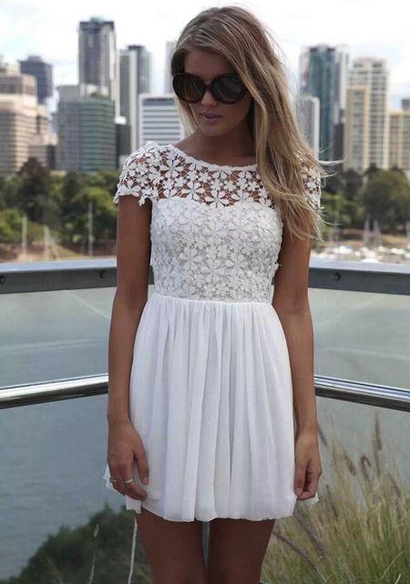 Women's hollow out lace round neck short sleeve leak back pleated hem chiffon dresses online