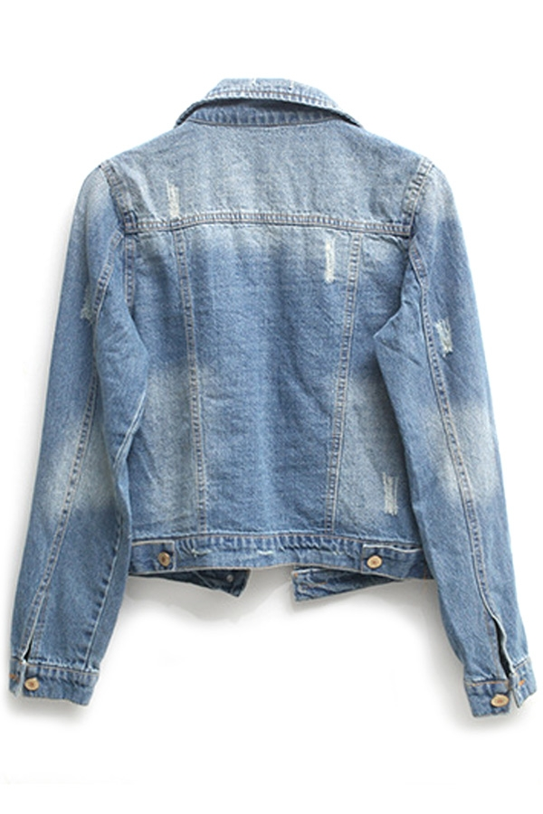 Distress Denim Cropped Jacket - OASAP.com