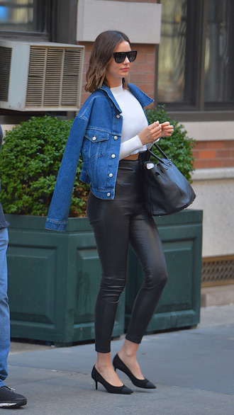 pants jacket denim jacket crop tops miranda kerr model off-duty streetstyle spring outfits