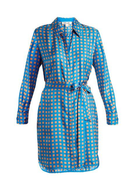 dress silk dress print silk blue