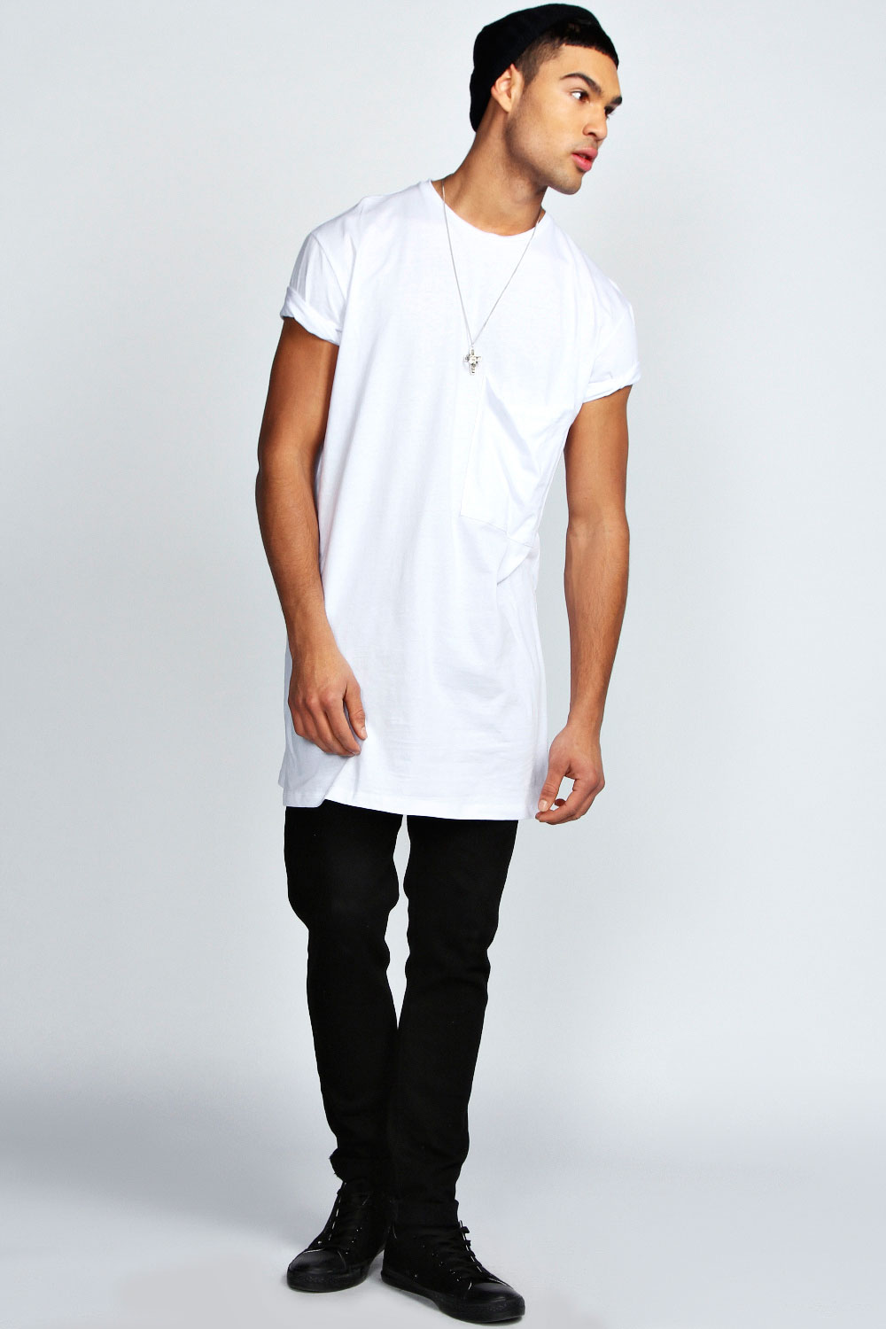 boohoo mens oversized pocket long line 100 cotton tee top t shirt. Black Bedroom Furniture Sets. Home Design Ideas