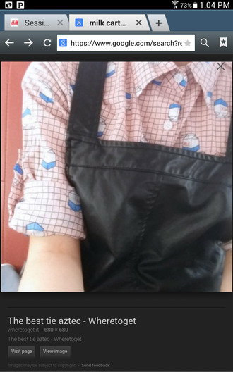 milk carton milkcarton grid button up gridshirt blouse asian fashion collar collar shirt milk carton