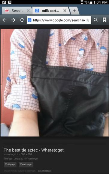 button up blouse collar milk carton milkcarton grid buttonup gridshirt asian fashion collar shirt milk carton