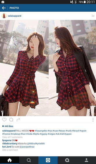 dress red dress fashionnova plaid skirt plaid dress