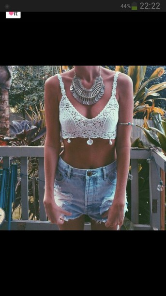tank top jewels necklace silver pretty