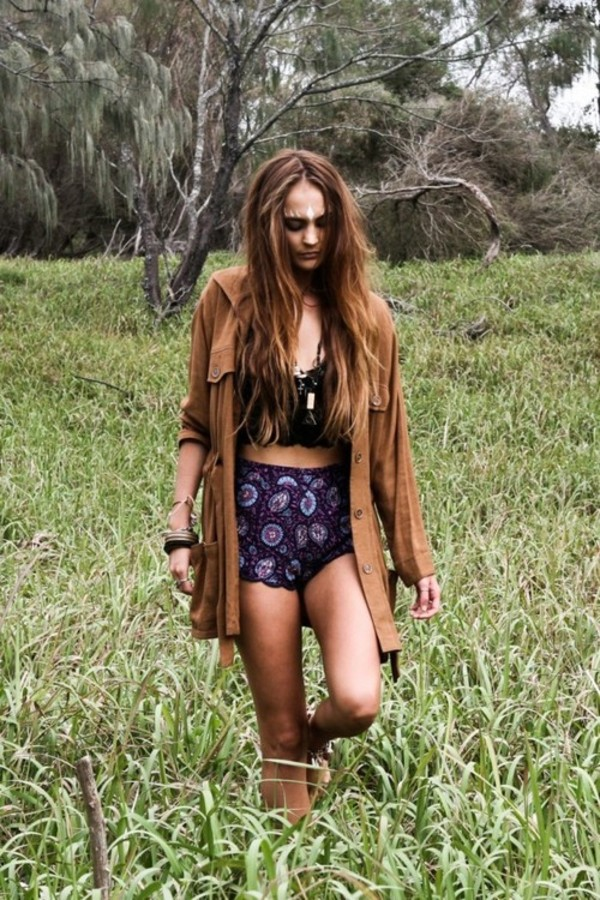 shorts purple purple shorts indie paisley paisley sweater bohemian hippie brown jacket