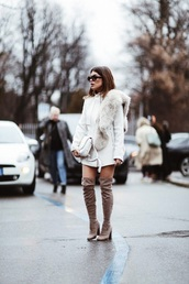 scarf,fur scarf,coat,white coat,boots,over the knee boots,over the knee,streetstyle,jacket