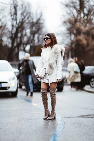 scarf fur scarf coat white coat boots over the knee boots over the knee streetstyle jacket