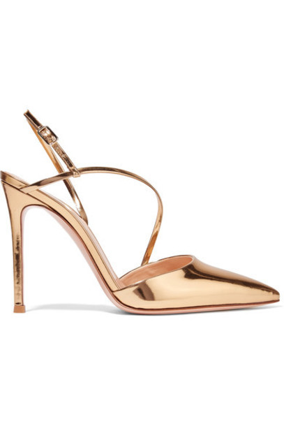 Gianvito Rossi metallic pumps gold leather shoes