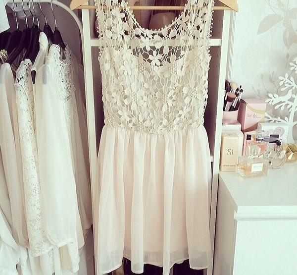 dress white lace white dress fashion clothes