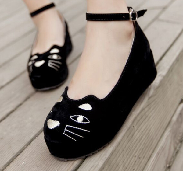cat flat platform shoes from kawaii fashion