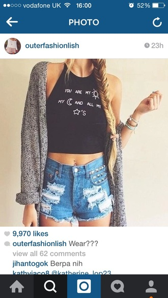 top black black and white white black top cute top cute shirts with sayings romantic sun moon stars grunge grunge t-shirt hippie