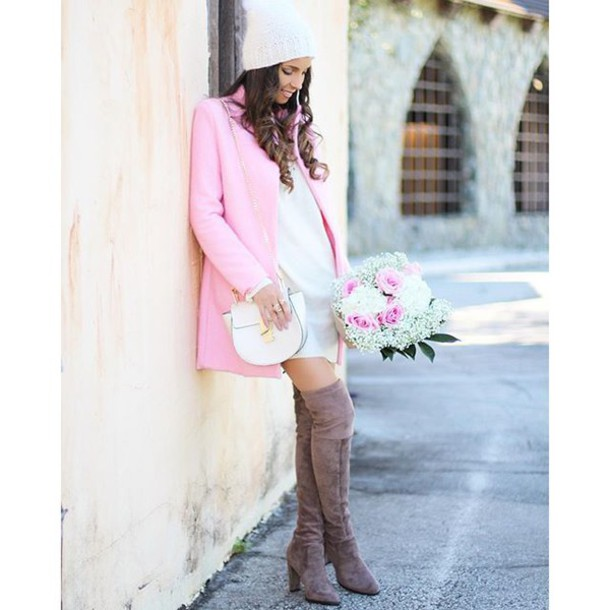 96a9795ab58 shoes thigh high boots suede boots suede suede thigh high boots pink coat pale  pink coat