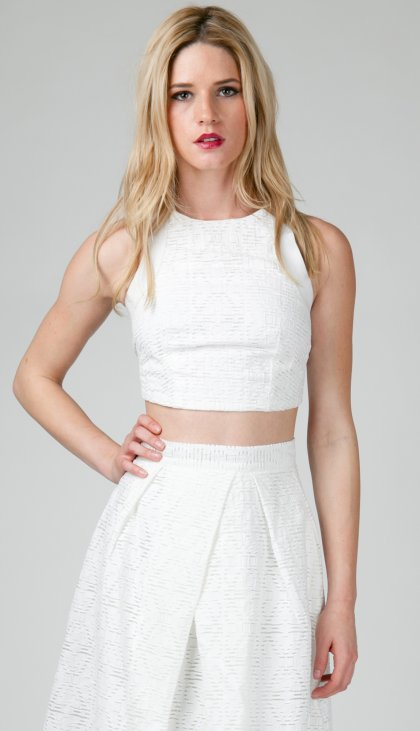 Double textured strap back crop top