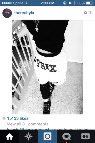 shorts black white wolftyla pyrex