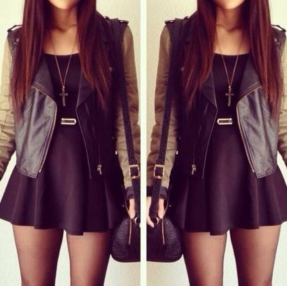dress black outfit cross jacket jewels girl fashion belt jacket,girl,long hair,fashion,army,style