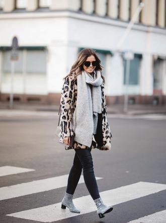 coat tumblr fur coat scarf grey scarf leopard print denim jeans black jeans skinny jeans boots silver boots sunglasses