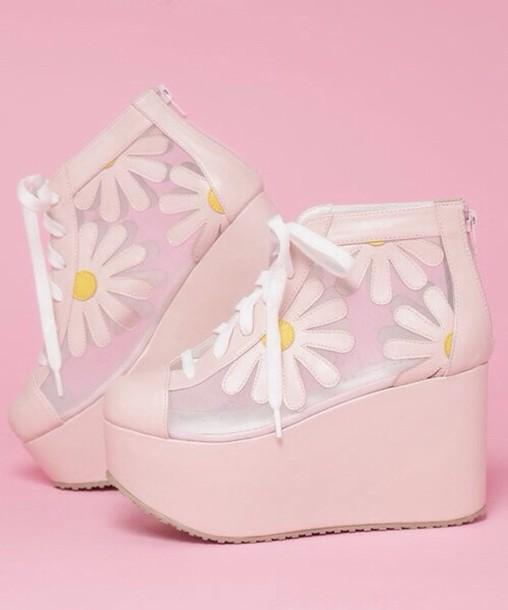 shoes pink platform shoes flatforms sneakers