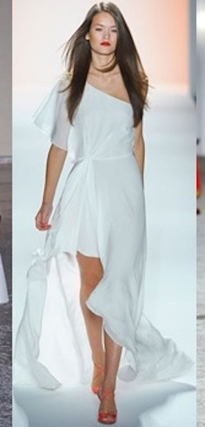White Off Shoulder High Low Dresses