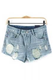 Turn-Up Edge Denim Shorts - OASAP.com