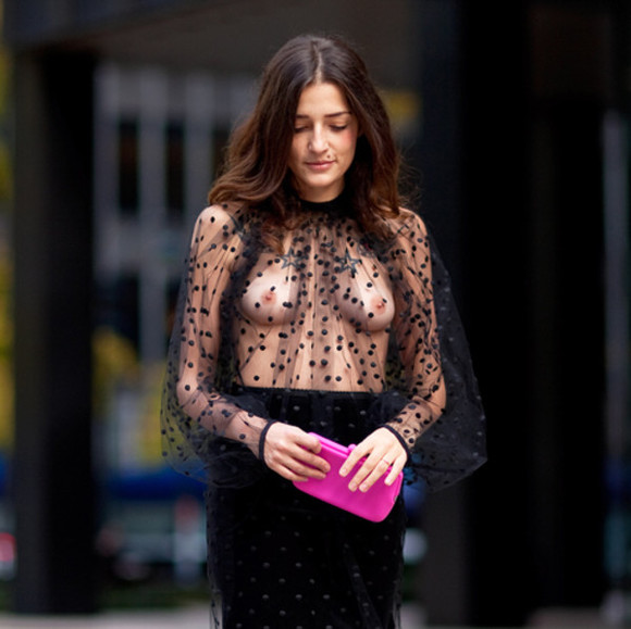 fashion squad shirt skirt top eleonora carisi blouse sheer see through polka dots fashion streetstyle beautiful new york city tulle