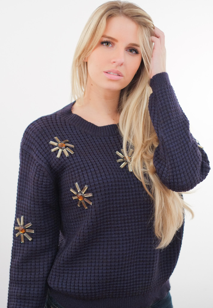Lulla Blinged Ribbed Navy Pullover – Glamzelle