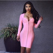 dress,pink,bandage dress,mini dress,pink dress