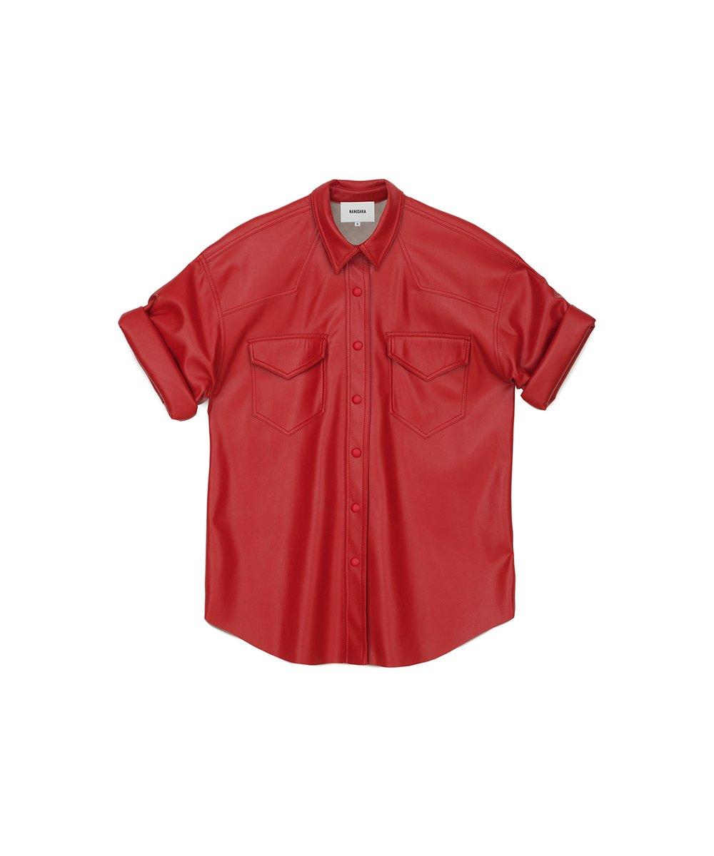 SEYMOUR - Oversized vegan leather shirt - Red