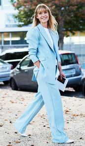 jacket,blazer,pants,blue blazer,blue pants,white top,shoes,white shoes