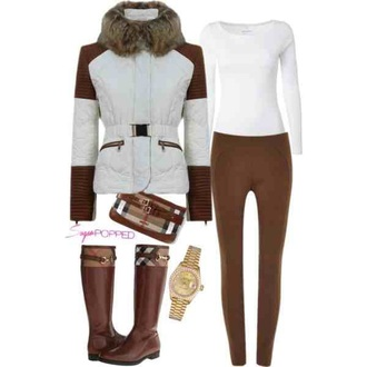 brown winter outfits brown leather boots watch down jacket tartan purse