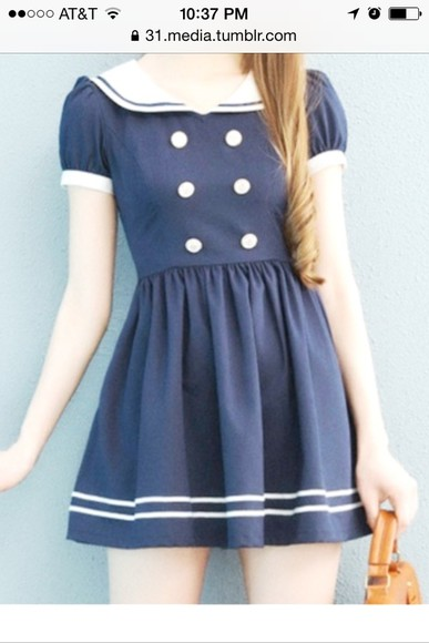 dress cute navy navy blue blue sailor kawaii