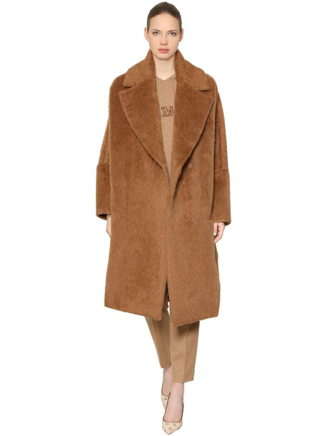 MAX MARA Sarnico Atelier Furry Alpaca Coat in brown