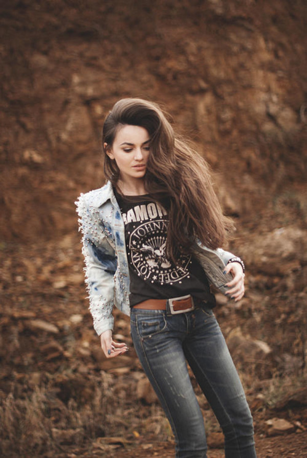 jacket denim jacket fall outfits t-shirt
