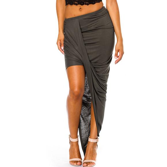 skirt asymmetrical draped twisted skirt grey skirt grey asymmetrical skirt