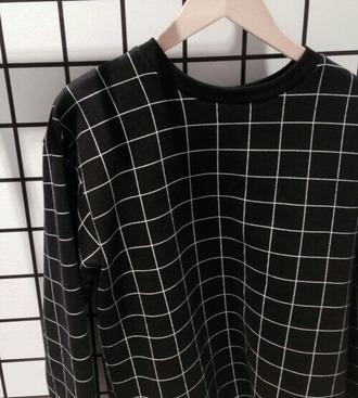 sweater squares blouse black blouse grid black black and white tumblr tumblr clothes