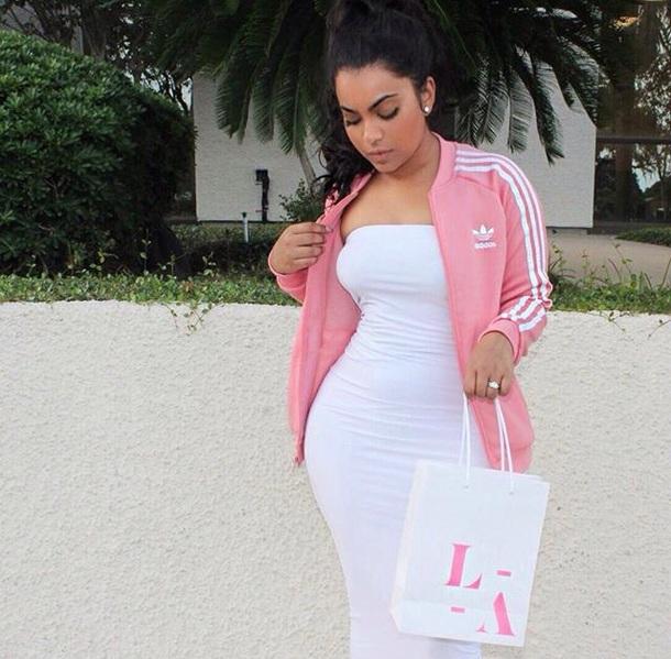 589887de6f jacket adidas adidas originals adidas jacket pink white dress white dress  midi dress strapless dress bodycon