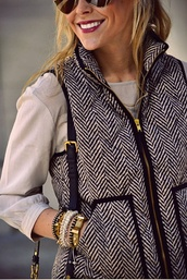 jacket,vest,blues and whites,stripes,gold,blouse,down jacket,winter outfits,fall outfits