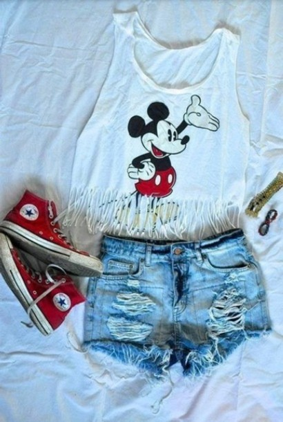 dc7cb53b693a9d shoes, shorts, crop tops, blouse, mickey mouse, white, fringes, tank ...