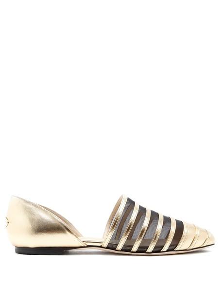 Jimmy Choo mesh flats leather flats leather gold shoes