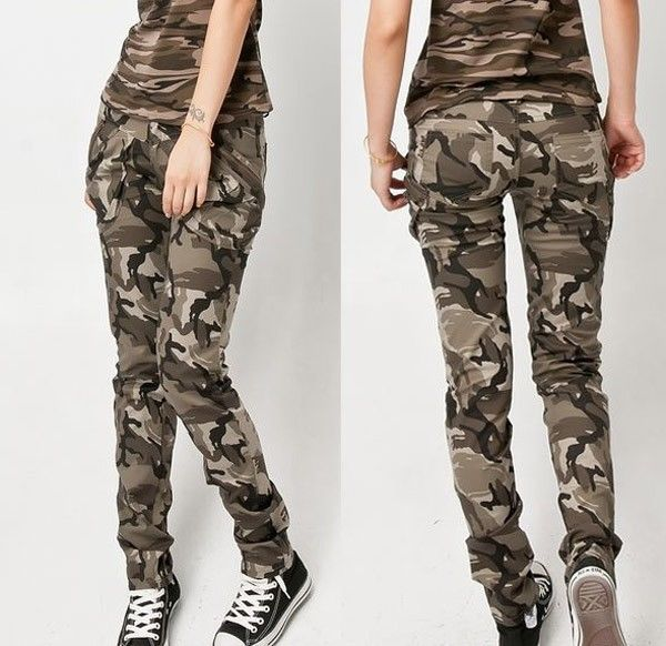 New womens army military camouflage cargo combat pants jeans slim fit trousers e