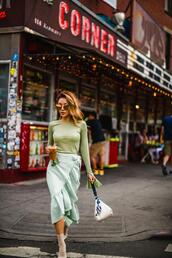 not jess fashion,blogger,top,skirt,socks,shoes,sunglasses,bag,midi skirt,green top,green skirt