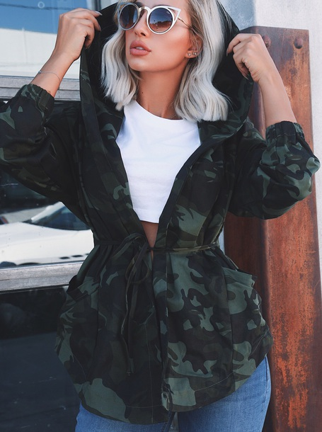 coat girly camouflage camo jacket hoodie outfit fall outfits