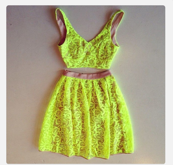 skirt mini skirt skater skirt two-piece neon high waisted skirt