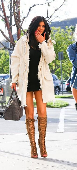 jacket dress black dress kylie jenner gladiators sandals lace up shoes