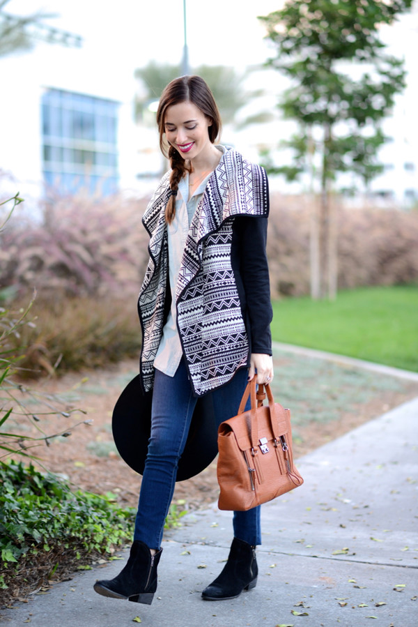 m loves m blogger top jeans bag ethnic cardigan black boots